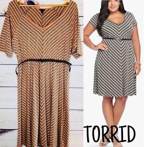 Torrid 2 Chevron Striped Dress Orange Gray